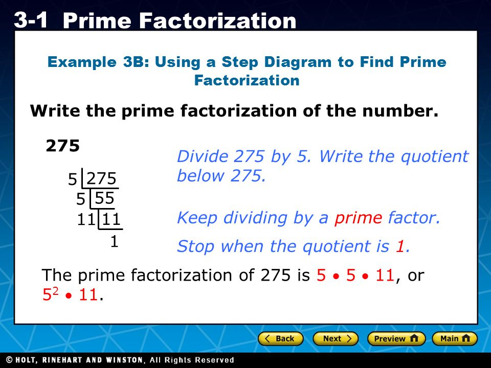 Example 3B: Using a Step Diagram to Find Prime Factorization