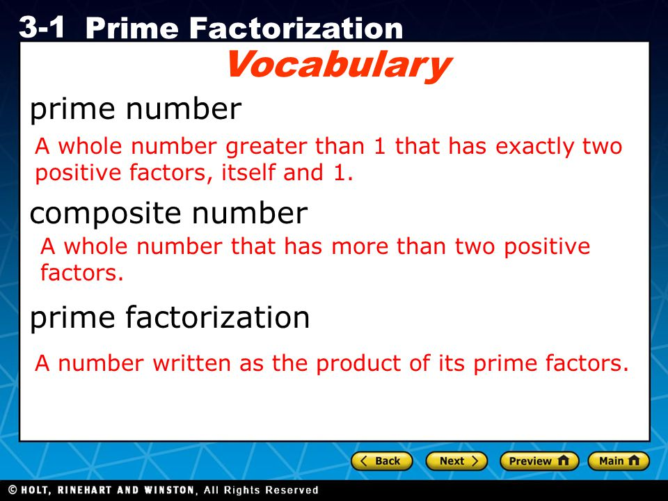 Vocabulary prime number composite number prime factorization