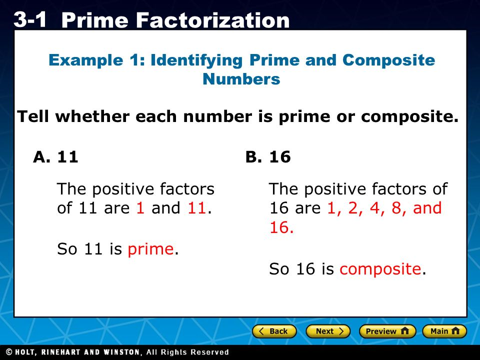 Example 1: Identifying Prime and Composite Numbers