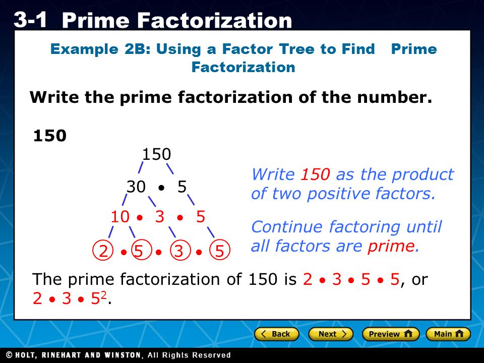 Example 2B: Using a Factor Tree to Find Prime Factorization