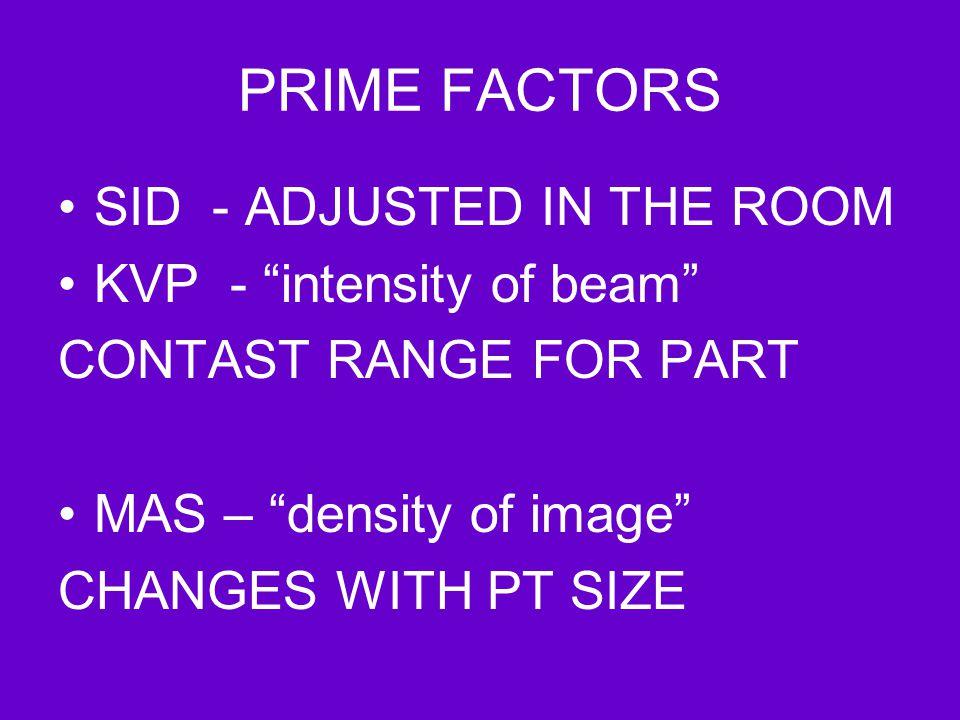 PRIME FACTORS SID - ADJUSTED IN THE ROOM KVP - intensity of beam