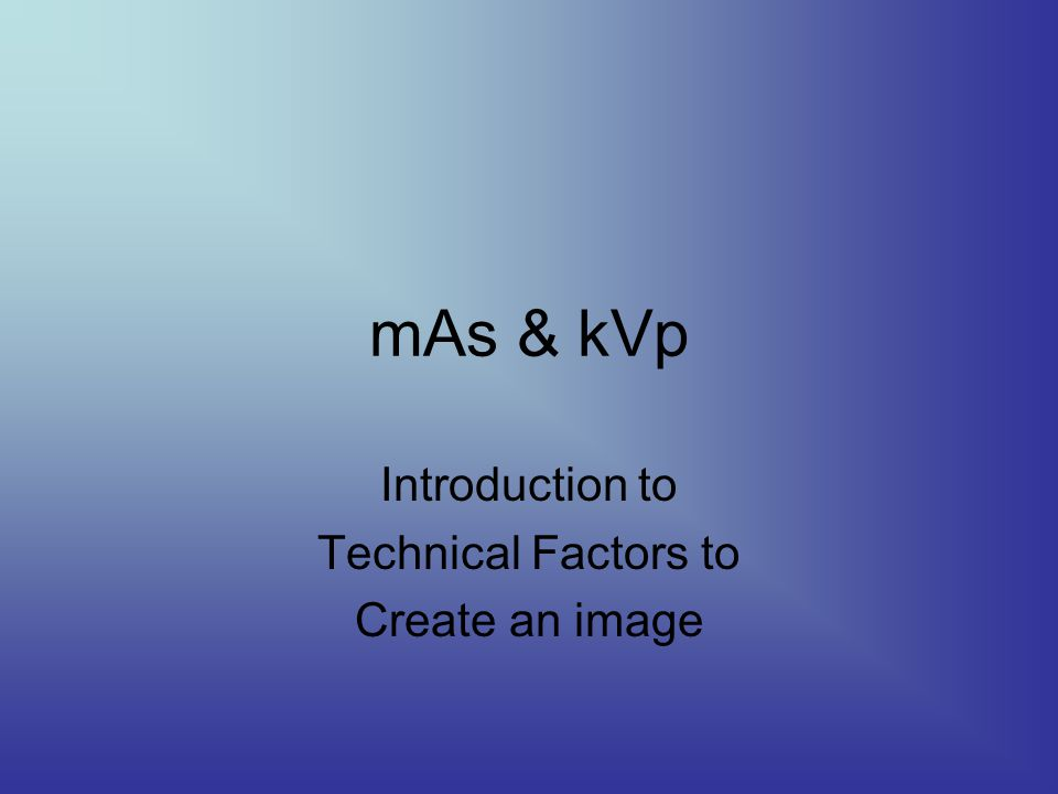 Introduction to Technical Factors to Create an image