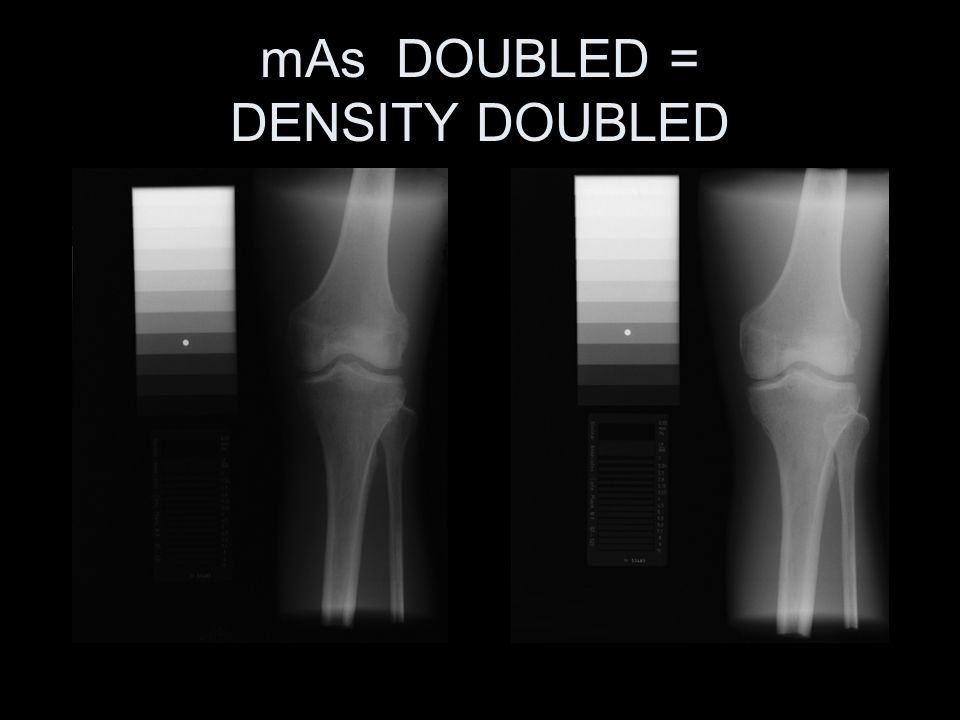 mAs DOUBLED = DENSITY DOUBLED
