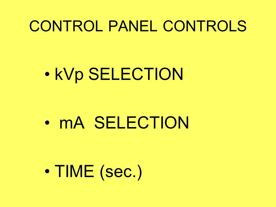 CONTROL PANEL CONTROLS
