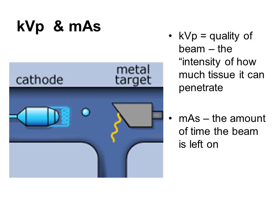 kVp & mAs kVp = quality of beam – the intensity of how much tissue it can penetrate.