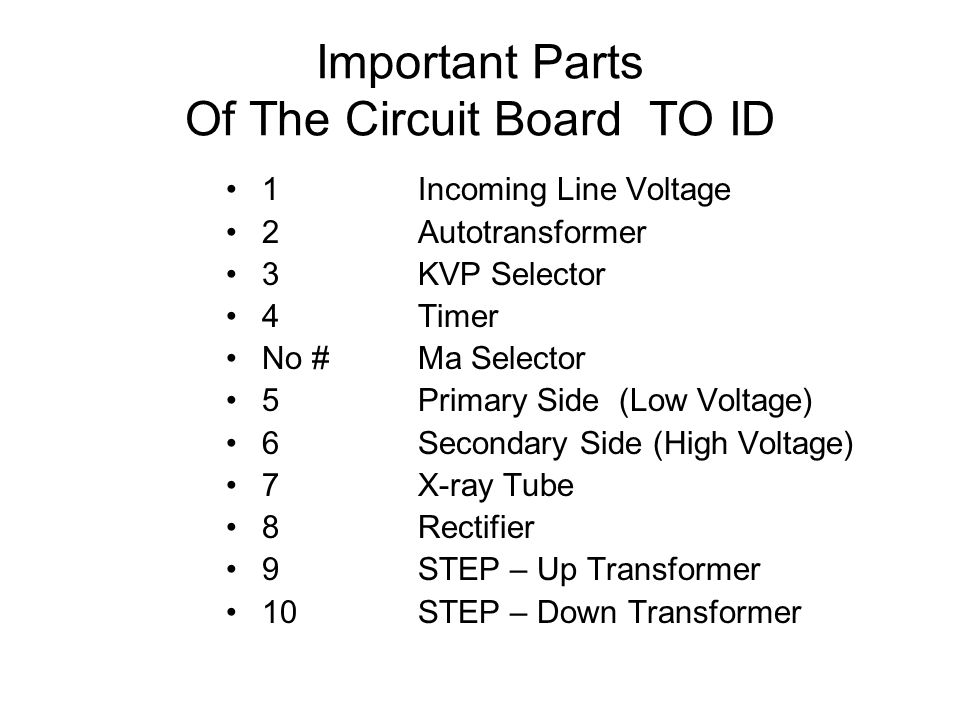 Important Parts Of The Circuit Board TO ID