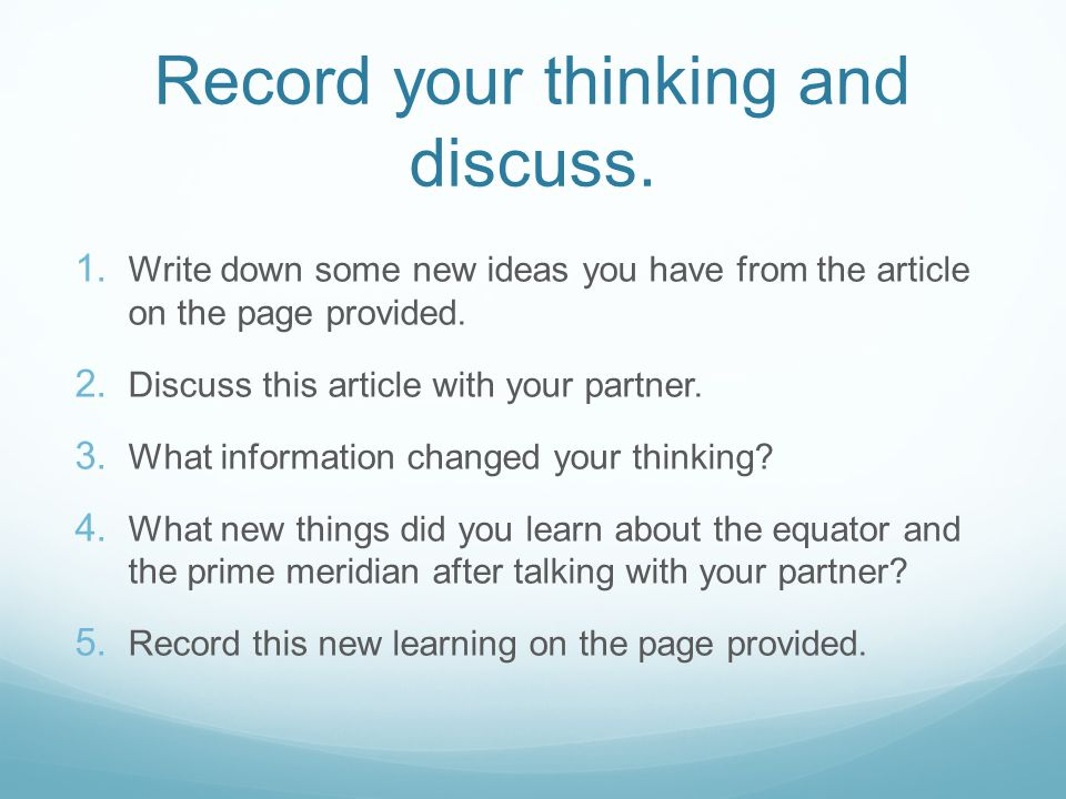 Record your thinking and discuss.
