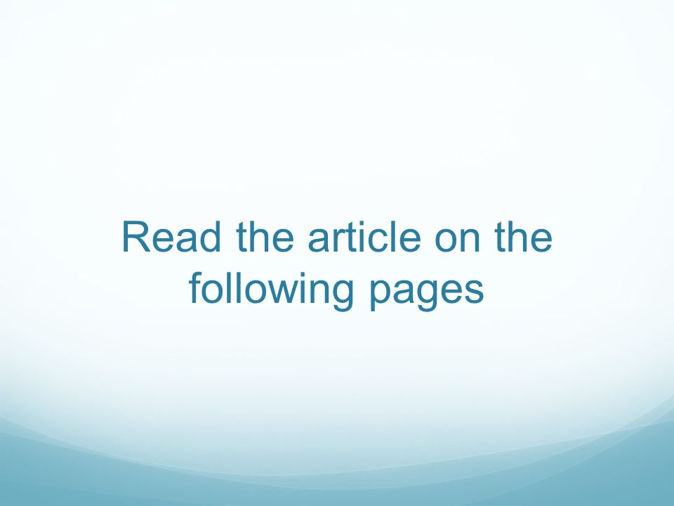 Read the article on the following pages