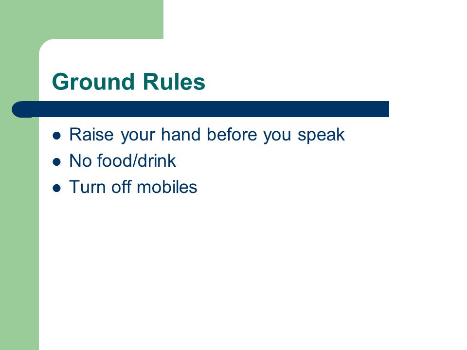 Ground Rules Raise your hand before you speak No food/drink
