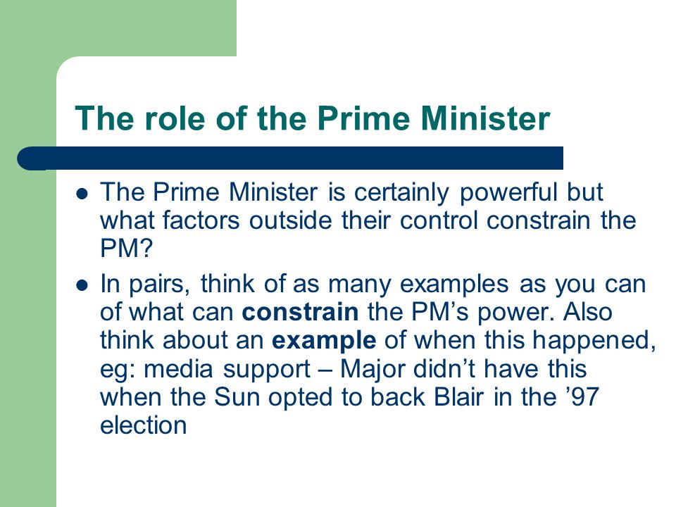 The role of the Prime Minister