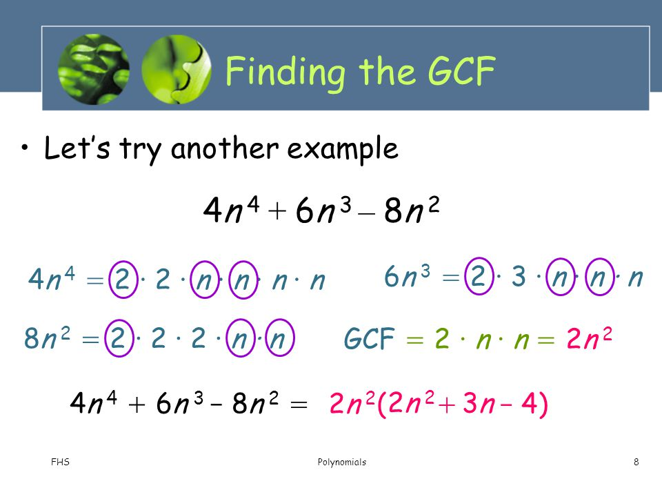 Finding the GCF 4n 4 + 6n 3 – 8n 2 Let's try another example