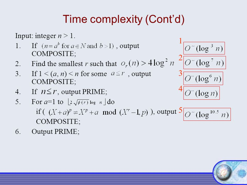 Time complexity (Cont'd)