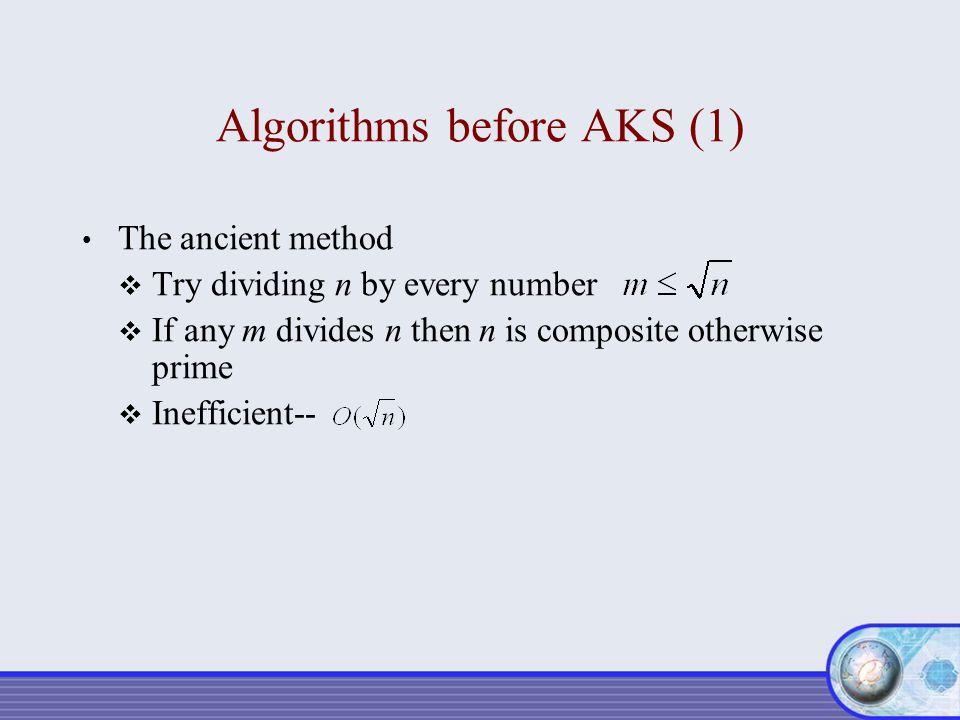 Algorithms before AKS (1)