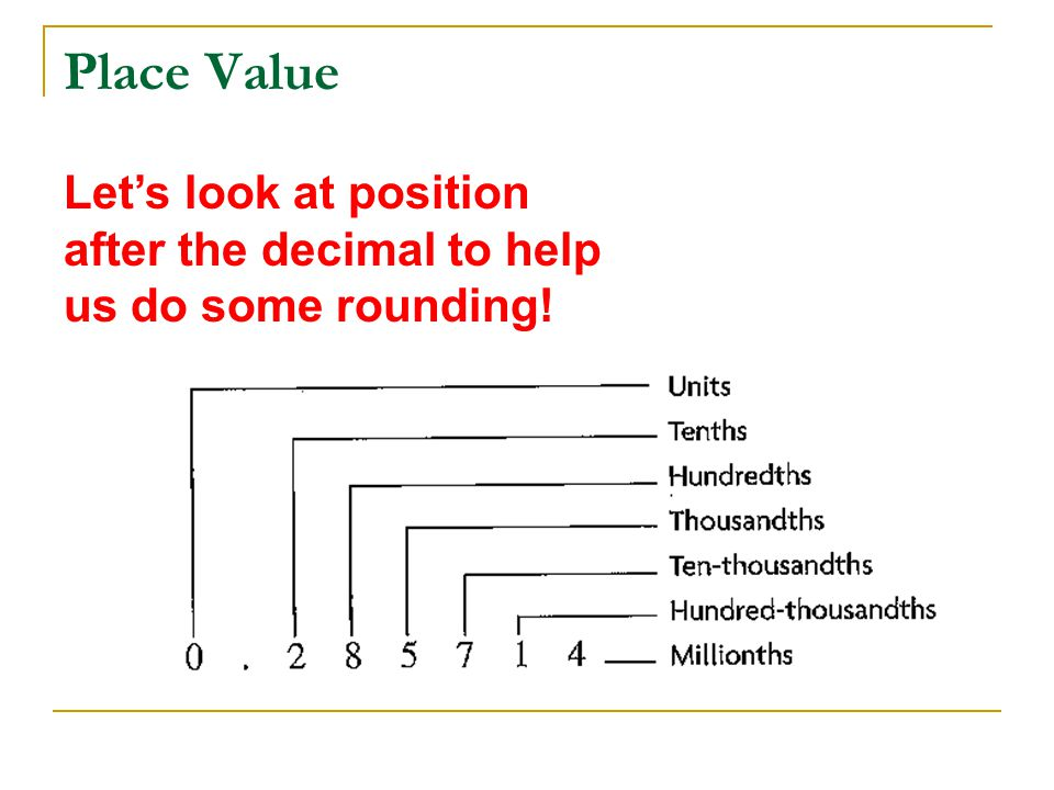 Place Value Let's look at position after the decimal to help us do some rounding!