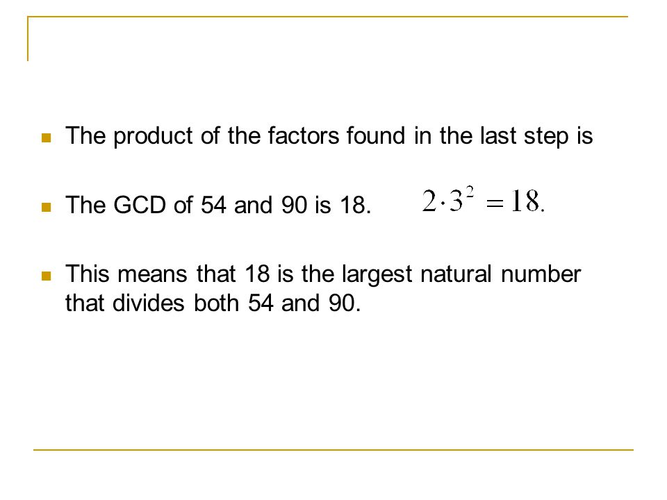 The product of the factors found in the last step is