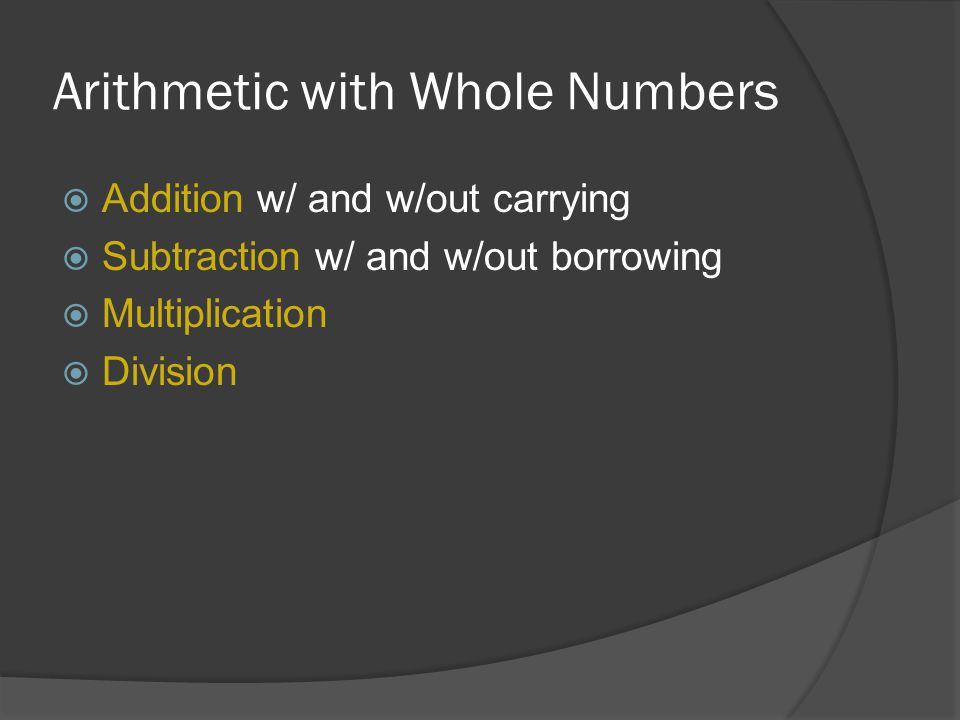 Arithmetic with Whole Numbers
