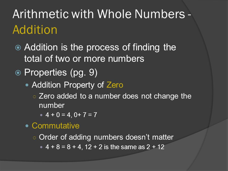 Arithmetic with Whole Numbers - Addition