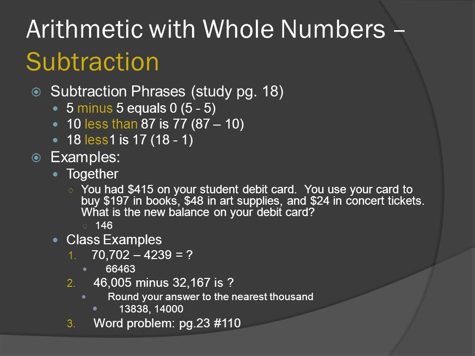 Arithmetic with Whole Numbers – Subtraction