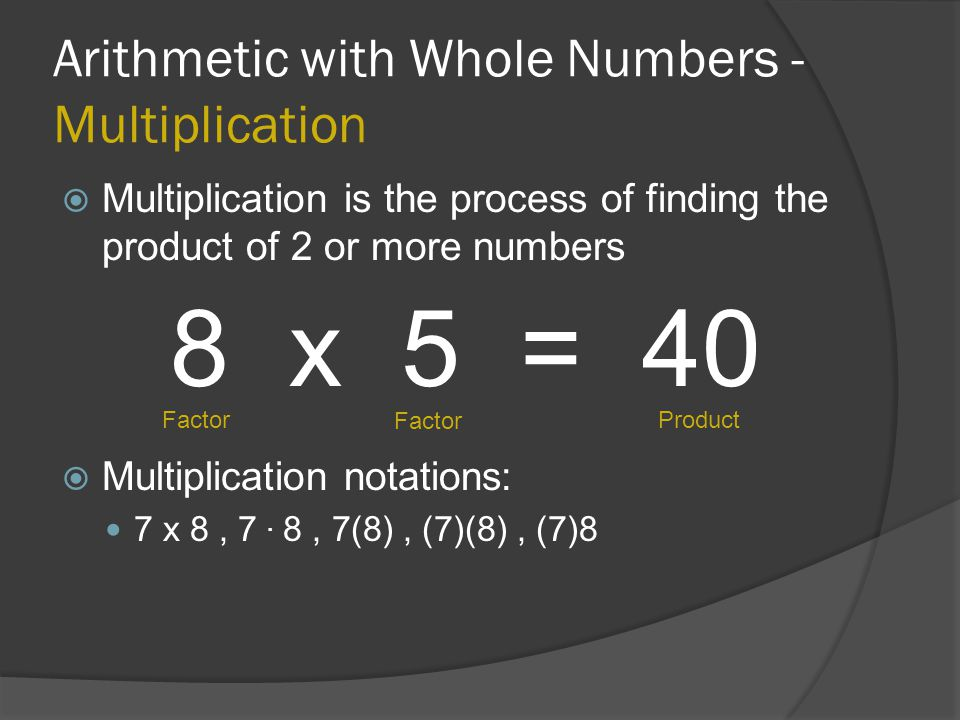 Arithmetic with Whole Numbers - Multiplication