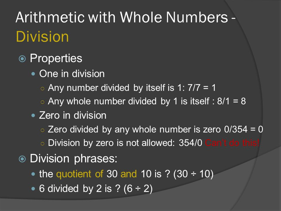 Arithmetic with Whole Numbers - Division