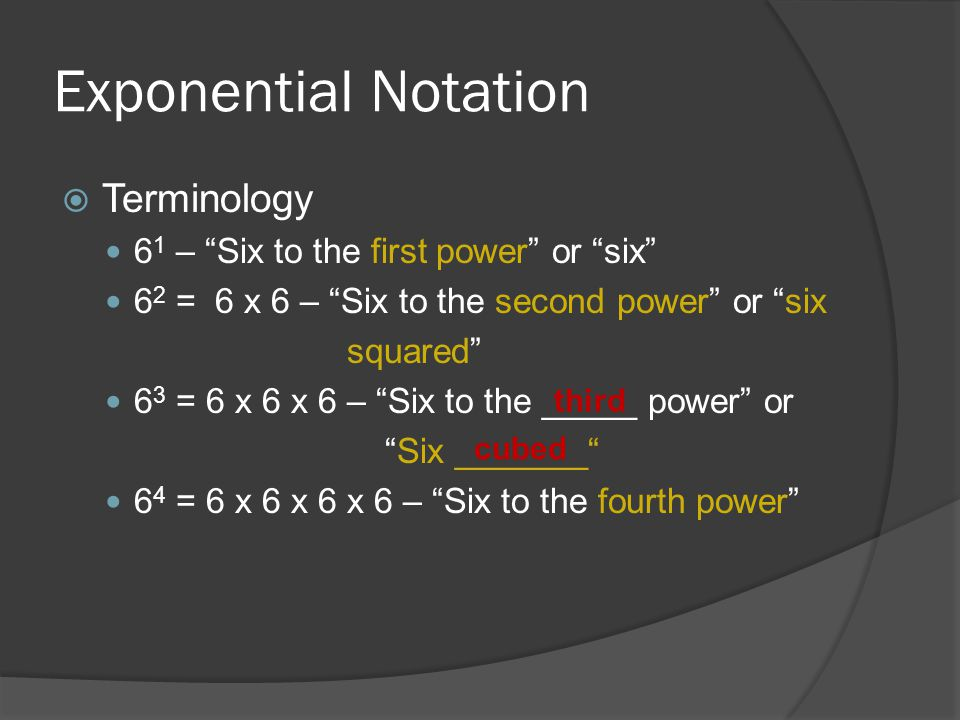 Exponential Notation Terminology