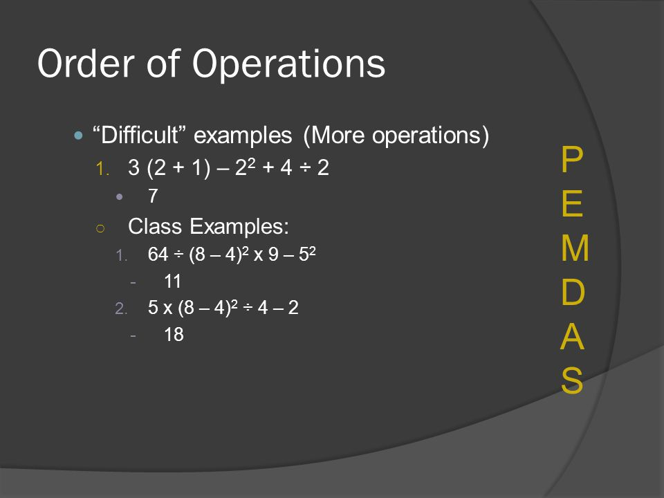 Order of Operations PEMDAS Difficult examples (More operations)