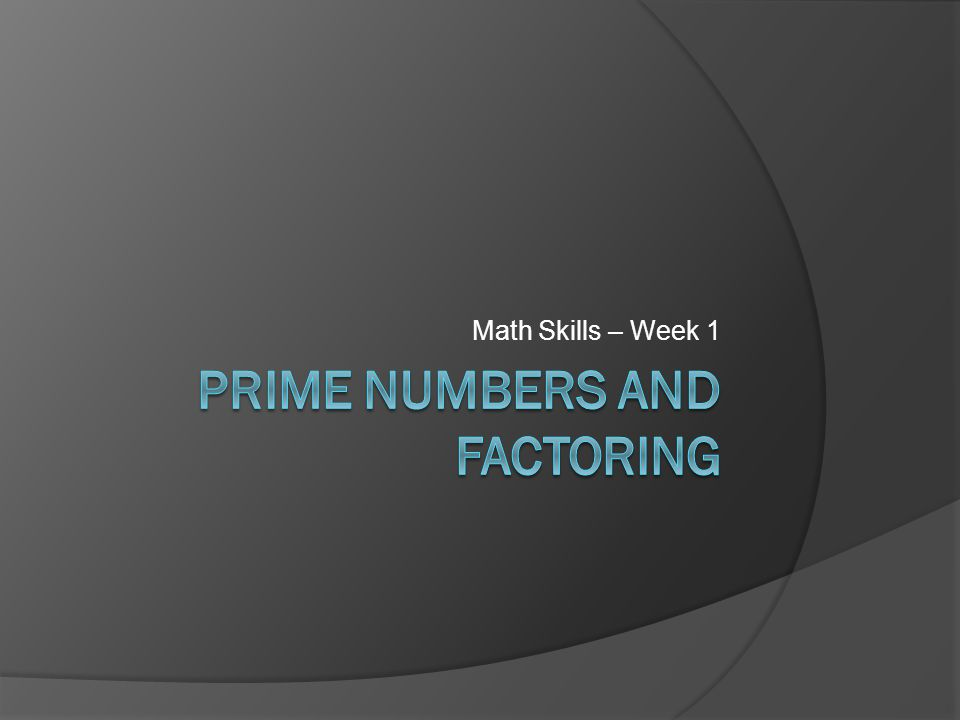 Prime Numbers and FactoRing