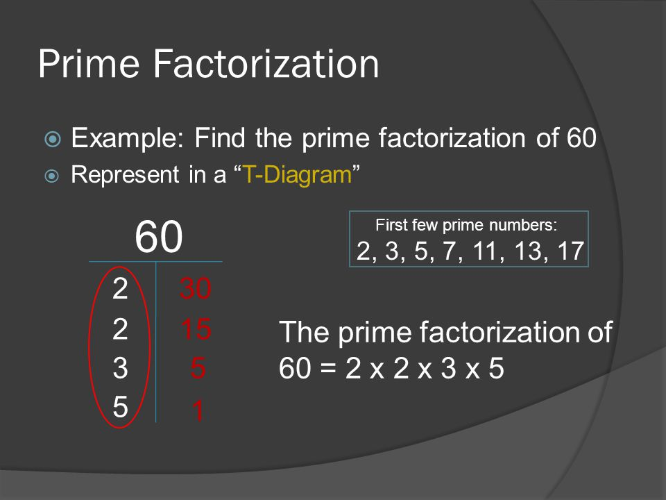 Prime Factorization Example: Find the prime factorization of 60. Represent in a T-Diagram 60. First few prime numbers: