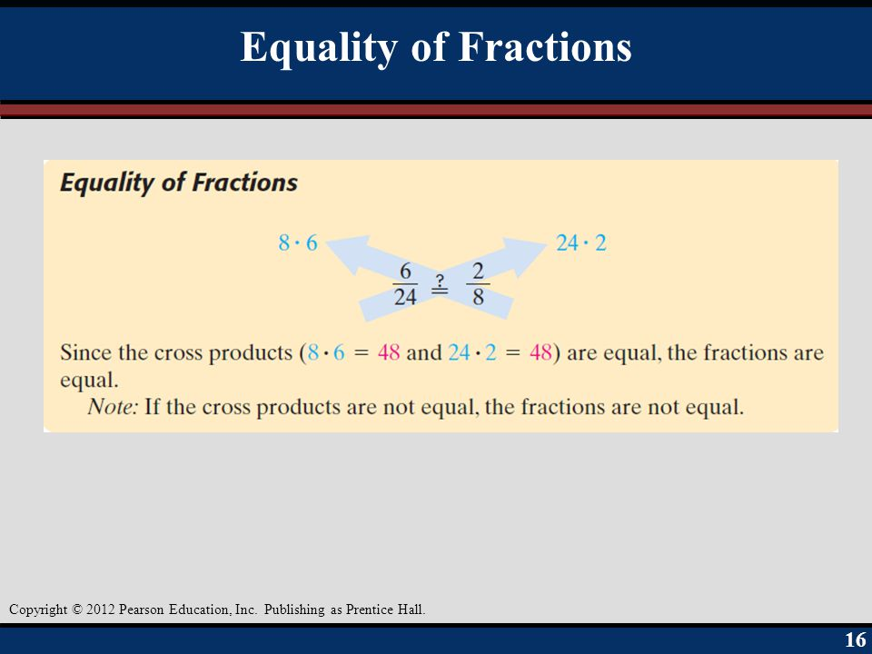 Equality of Fractions Objective A 16