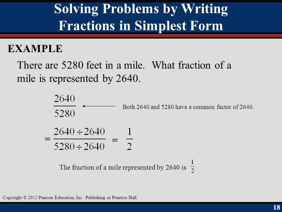 Solving Problems by Writing Fractions in Simplest Form