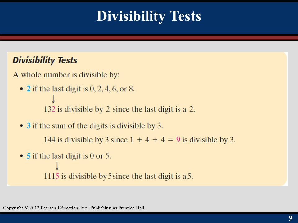 Divisibility Tests Objective A 9