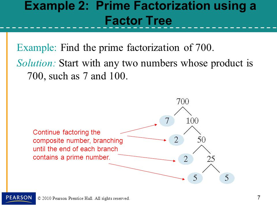 Example 2: Prime Factorization using a Factor Tree