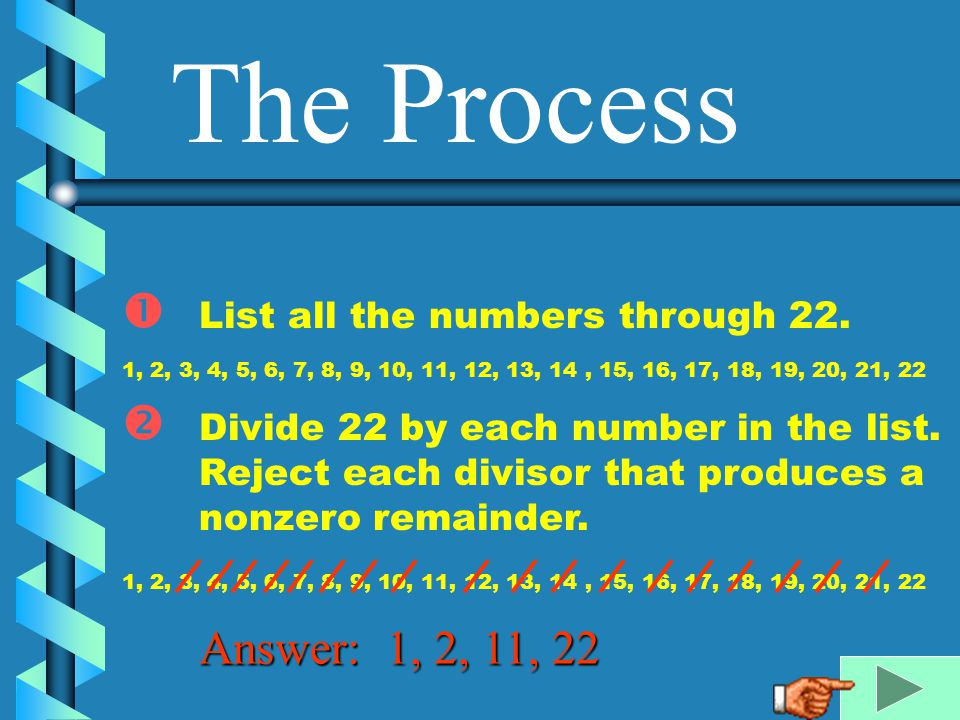 The Process Answer: 1, 2, 11, 22 List all the numbers through 22.