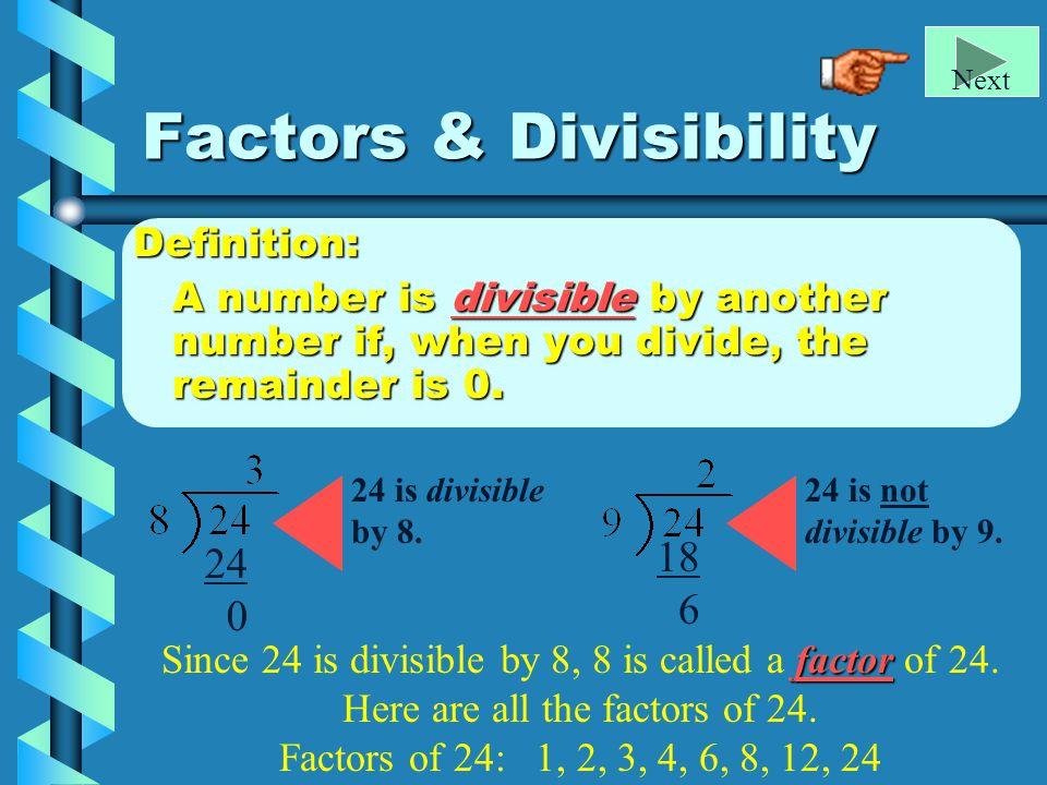 Factors & Divisibility