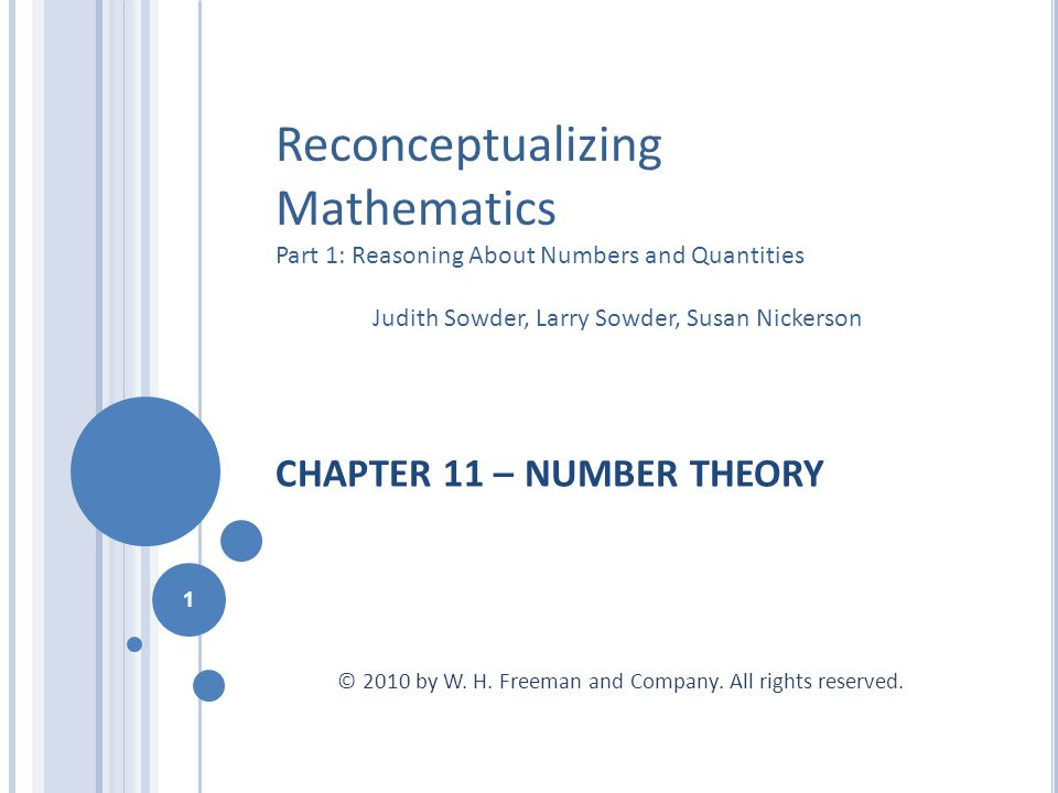CHAPTER 11 – NUMBER THEORY