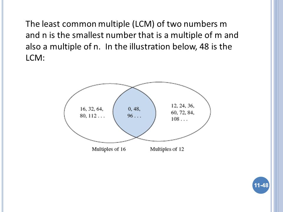 The least common multiple (LCM) of two numbers m and n is the smallest number that is a multiple of m and also a multiple of n.