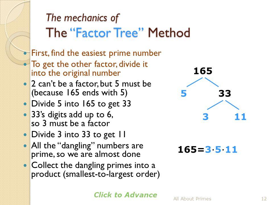 The mechanics of The Factor Tree Method