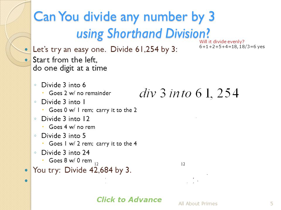 Can You divide any number by 3 using Shorthand Division