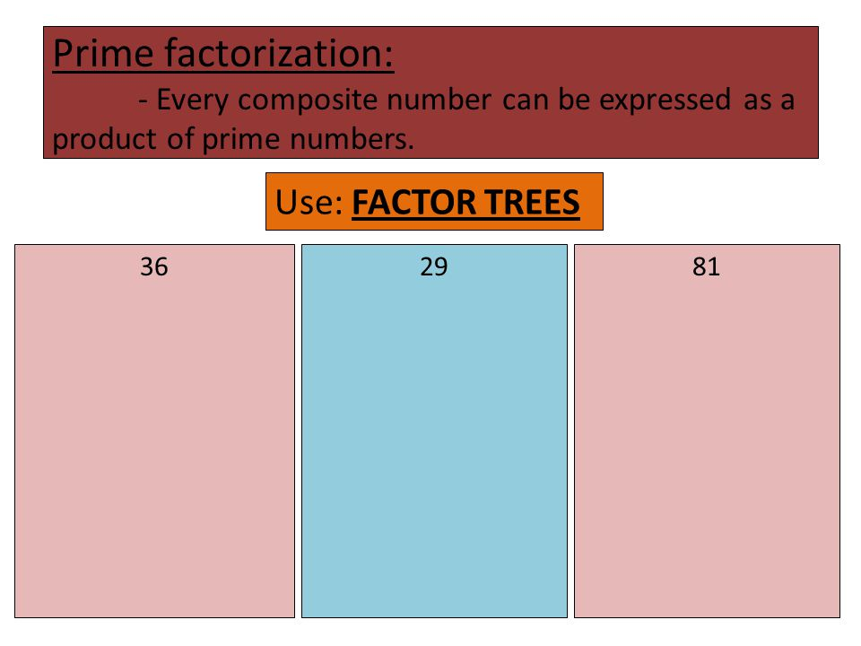 Prime factorization: - Every composite number can be expressed as a product of prime numbers.