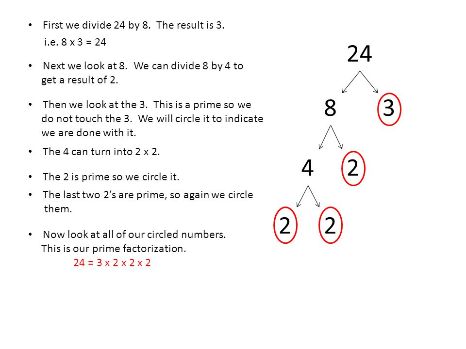 24 8 3 4 2 2 2 First we divide 24 by 8. The result is 3.