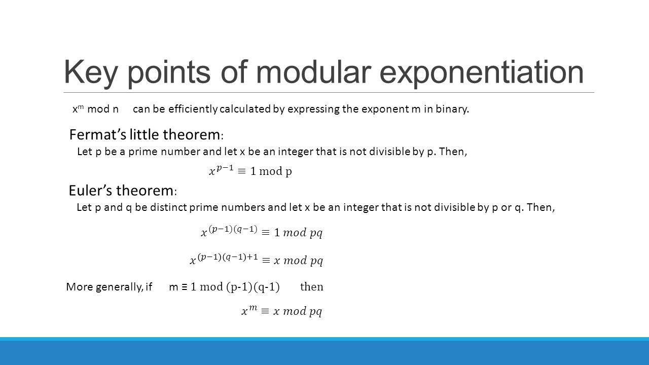 Key points of modular exponentiation