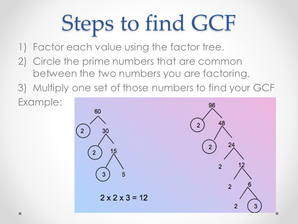 Steps to find GCF Factor each value using the factor tree.