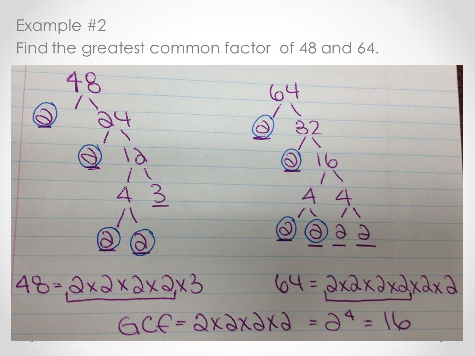 Example #2 Find the greatest common factor of 48 and 64.