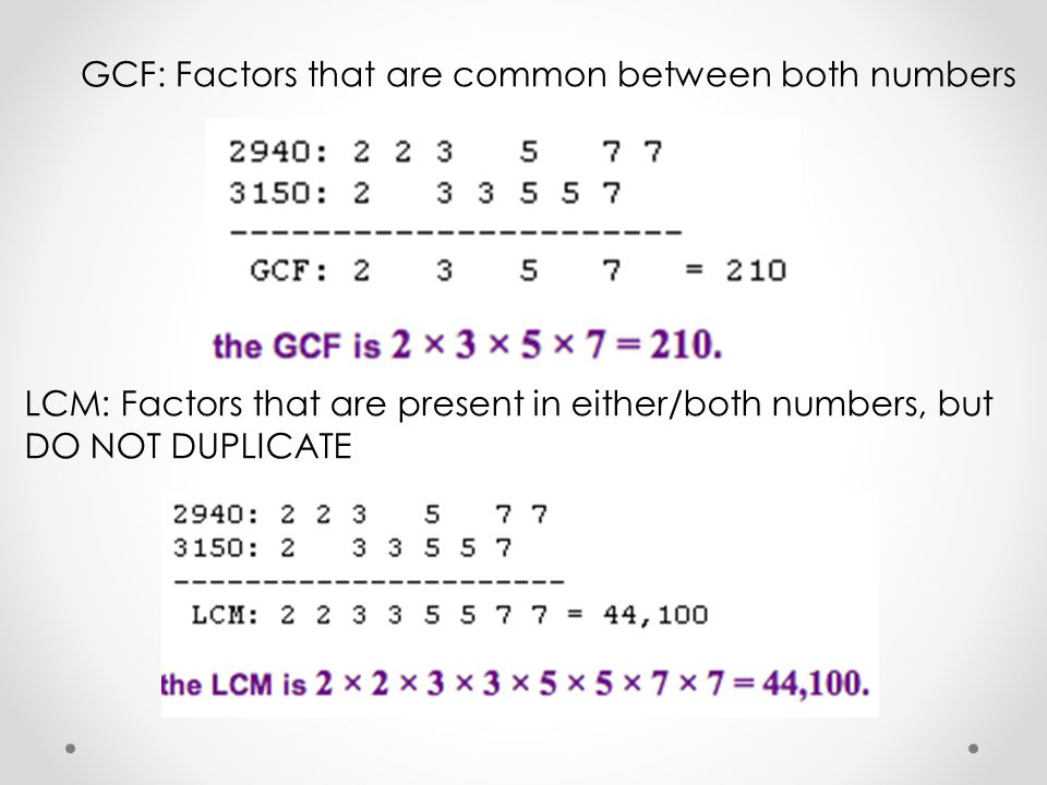 GCF: Factors that are common between both numbers