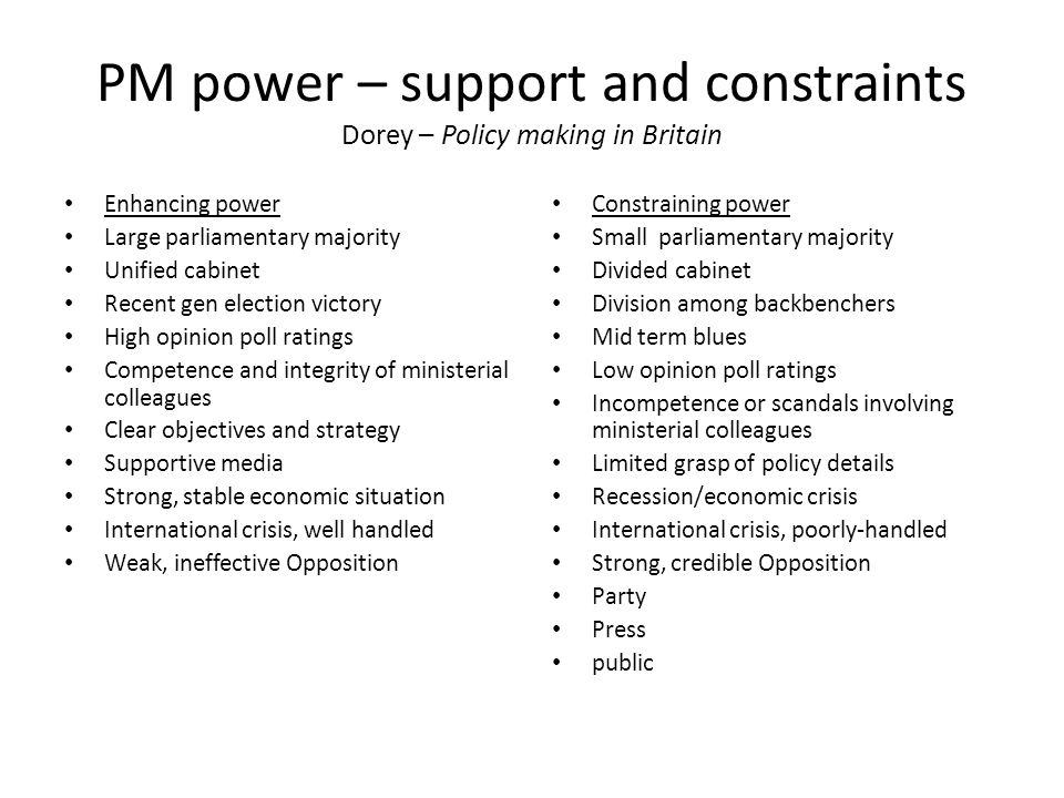 PM power – support and constraints Dorey – Policy making in Britain