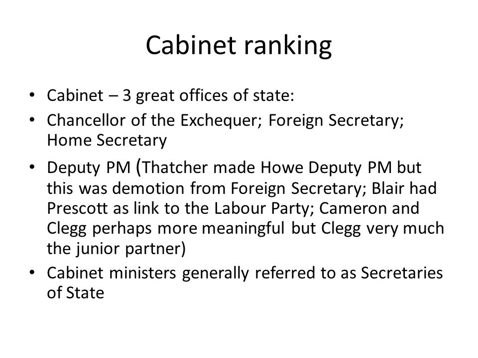 Cabinet ranking Cabinet – 3 great offices of state: