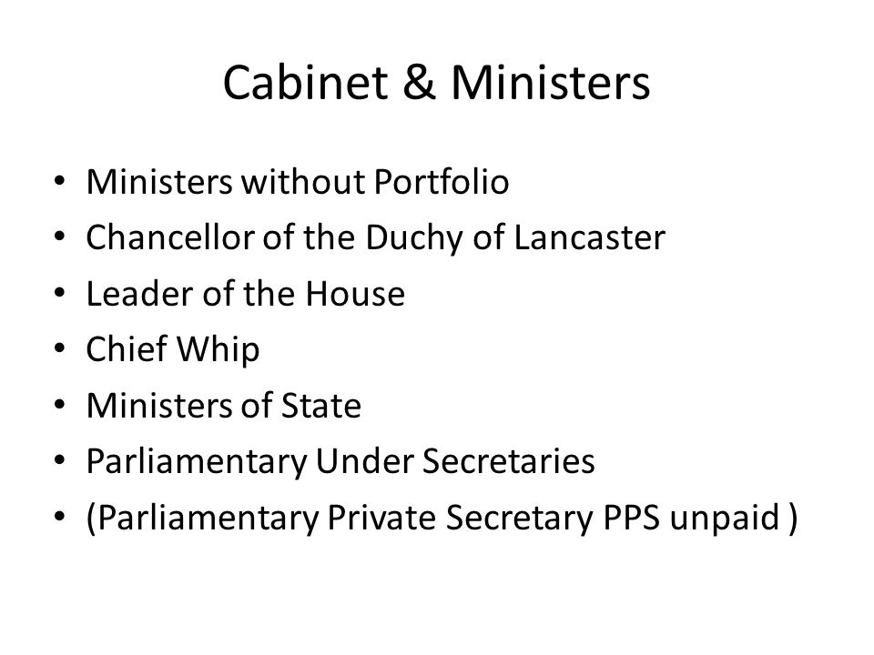 Cabinet & Ministers Ministers without Portfolio