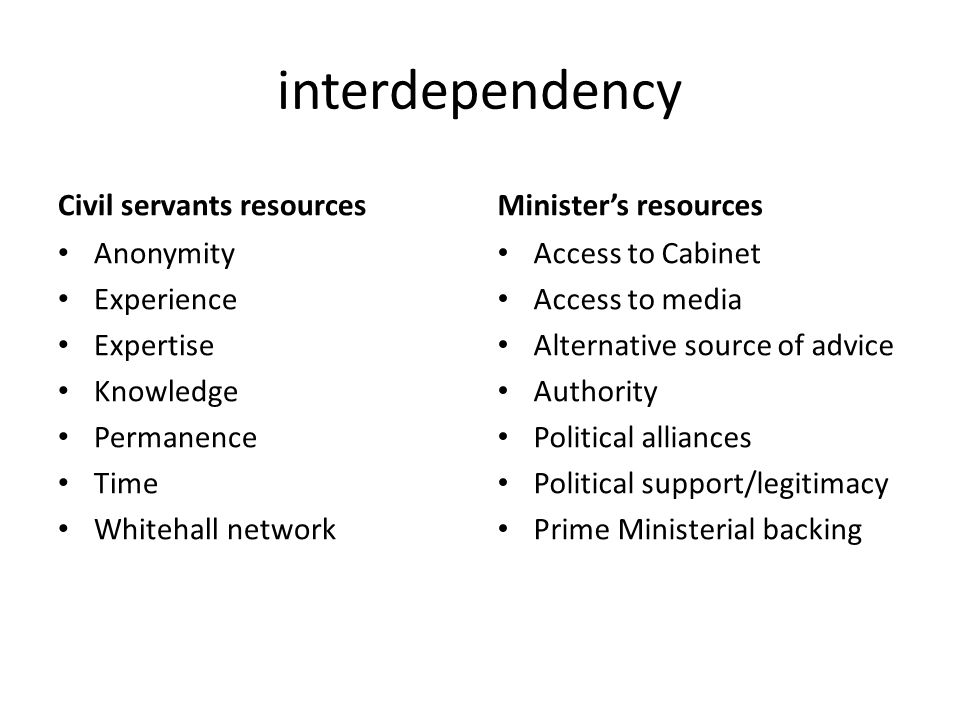 interdependency Civil servants resources Minister's resources
