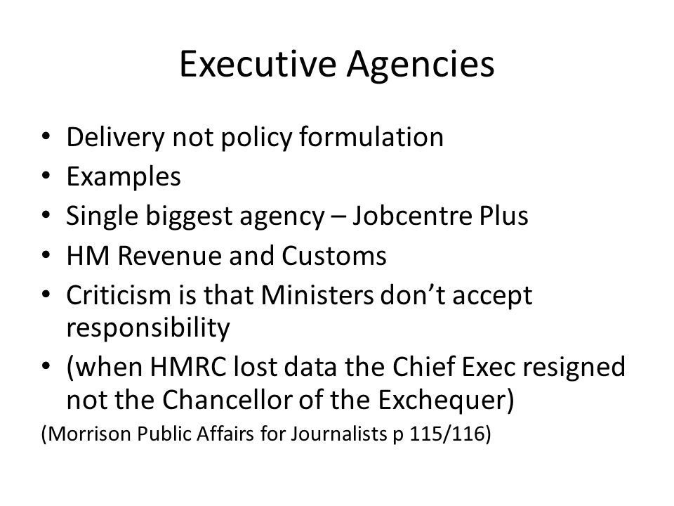 Executive Agencies Delivery not policy formulation Examples