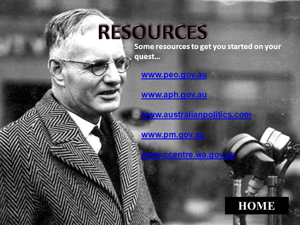 RESOURCES HOME Some resources to get you started on your quest…